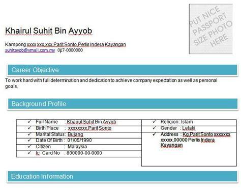 Contoh Objektif Dalam Resume by Contoh Resume Bahasa Contoh Resume
