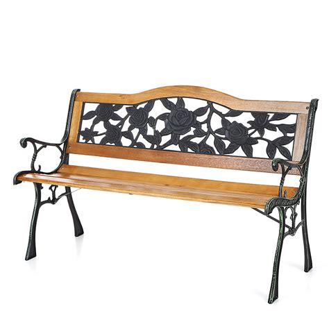 garden bench wrought iron and wood wood ikayaa 49 6 quot cast iron wood patio outdoor garden