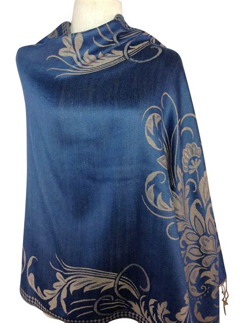 patterned blue pashmina direct from thailand