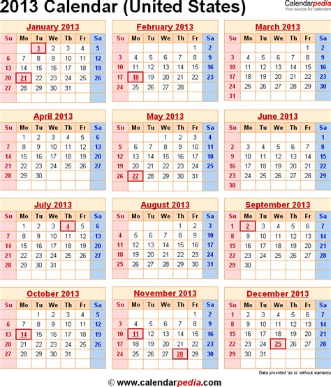 2013 Calendar With Holidays 2013 Calendar With Federal Holidays Excel Pdf Word Templates