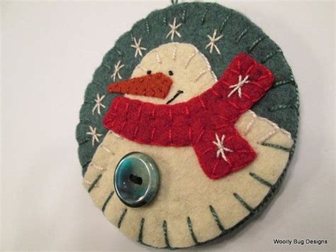 white wool felt snowman ornament red wool felt by
