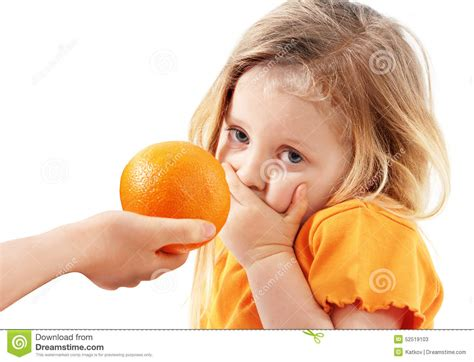 doesn t want to eat the whimsical child doesn t want to eat orange stock photo image 52519103