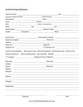 This Assisted Living Form Can Be Used As An Intake Record For Senior Citizen Nursing Home Elder Care Agreement Template