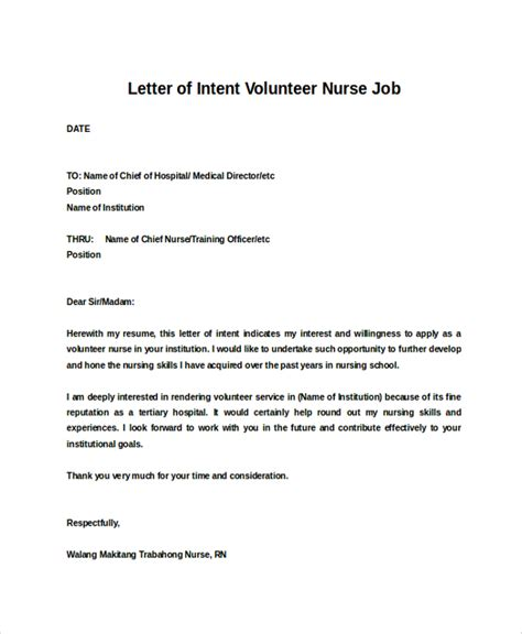 Letter Of Intent Nursing School Sle Letter Of Intent 43 Exles In Pdf Word
