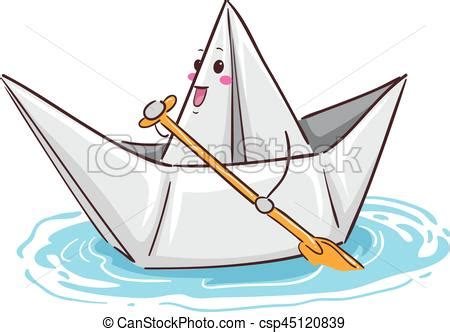 paper boat line drawing vector illustration of a paper boat mascot paddling