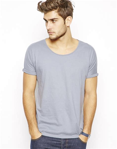Sleeve Scoop Neck T Shirt asos tshirt with scoop neck and rolled kimono sleeves in
