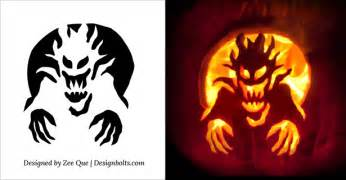 Free halloween scary pumpkin carving stencils patterns templates