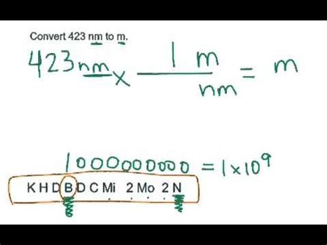 how to m conversion nanometers to meters youtube