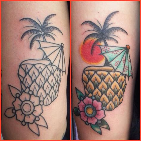 cocktail tattoo designs pineapple cocktail drink in the sunset tattooed by