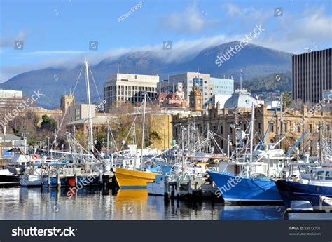 fishing boat hire hobart fishing boat at wharf in hobart harbour stock photo
