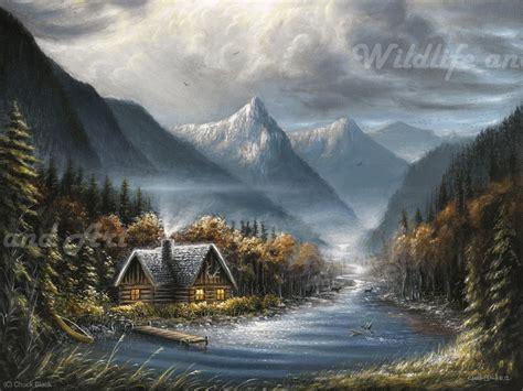 painting montana rustic cabin canvas print quot boulder river quot wildlife