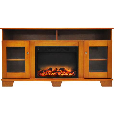 fireplace display cambridge savona 59 in electric fireplace in teak with