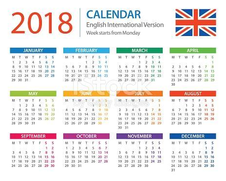 Printable Calendar 2018 Europe | calendar 2018 english european international version stock