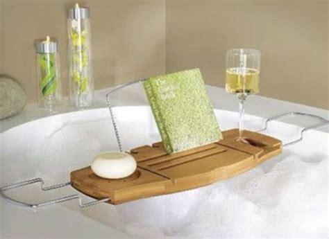 bathtub table bag relax pretty beautiful drink food table bathroom home accessory bath