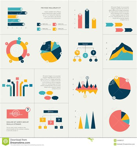 graph and diagram icon set stock vector illustration of info graphics set stock vector illustration of graphs