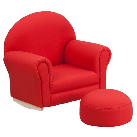 kids ottoman chair kids red fabric rocking chair and ottoman