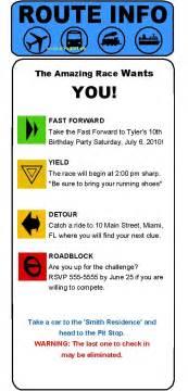 amazing race birthday templates amazing race clue invitations unique invitations