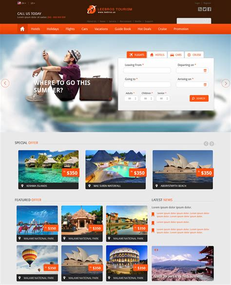 10 Eye Catching Travel Website Templates Travel Booking Website Templates Free