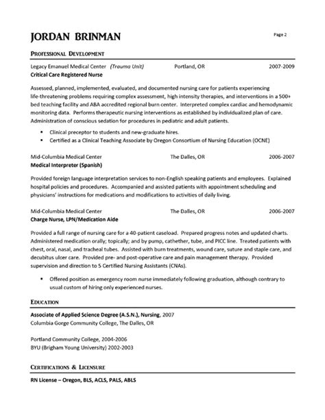cover letter for emergency room er resume exle resume exles