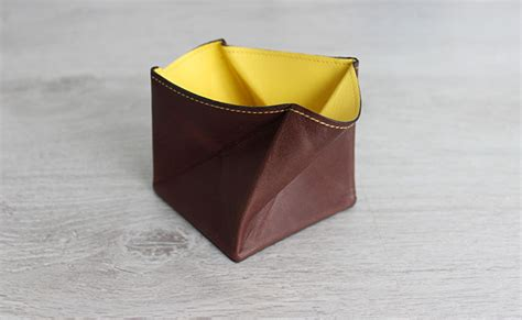 Origami Coin Purse - origami leather coin purse row brown and yellow leather
