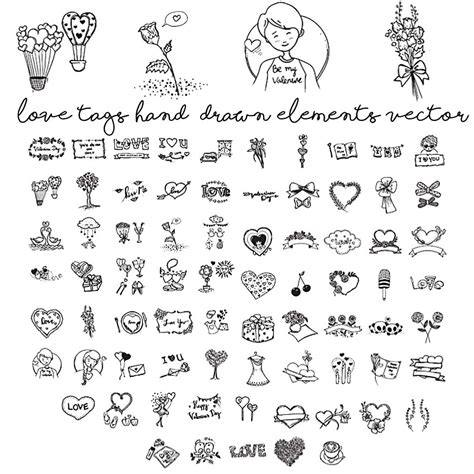 hand draw design elements vector love tags hand drawn elements vector set free download