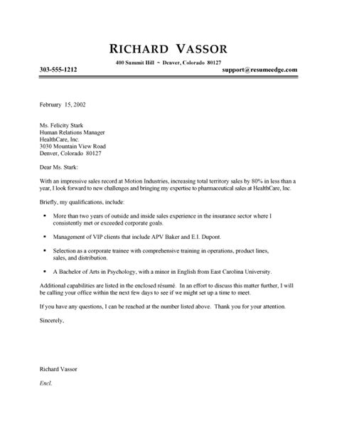 Covering Letter Sles For Resume by Professional Sales Cover Letters For Resumes Recentresumes