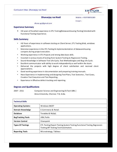 experienced mobile testing resume model 1 www jwjobs net sle resume for experienced software