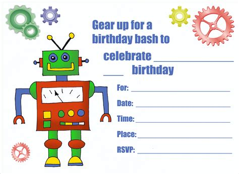 printable robot stationery printable personalized birthday invitations for kids 1st