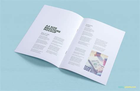A4 Brochure Mockup Free Psd Download Zippypixels Brochure Mock Up Template