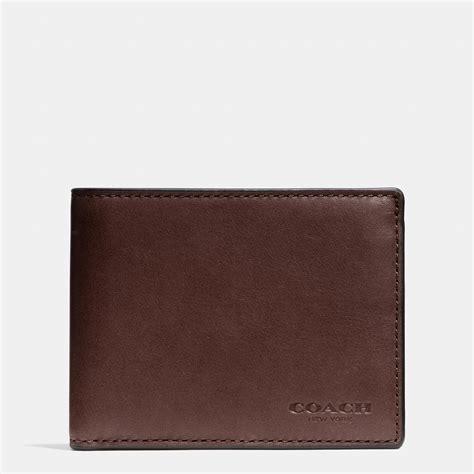 Coach Slim Wallet 1 coach slim billfold id wallet in sport calf leather in brown for lyst