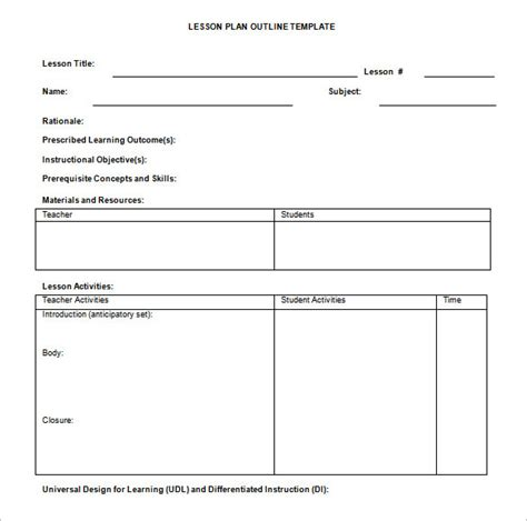 lesson plan outline template 10 free free word pdf