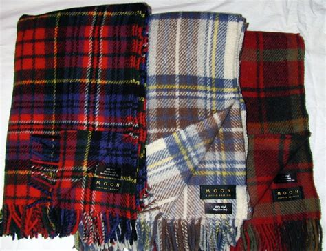 Where To Buy Throw Blankets by Moon Wool Throw Blanket Tartan Plaid Nwt Limited Edition