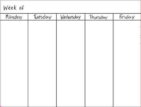 7 day calendar template 5 day calendar template calendar template