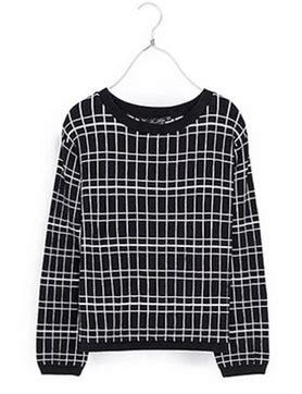 Black Grid Cardigan N1587 black white grid sweater