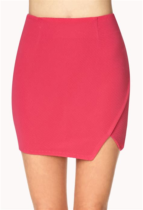 How To Make Origami Skirt - forever 21 ribbed origami skirt in pink lyst