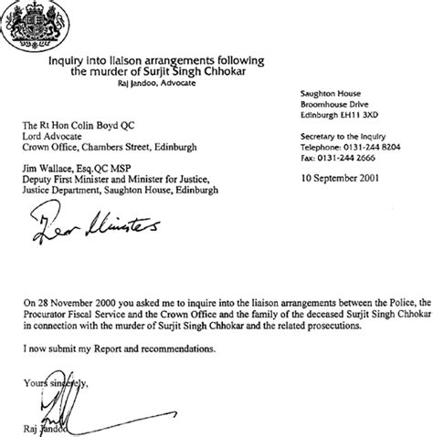 Service Enquiry Letter Sle Report Of The Inquiry Into The Liaison Arrangements Between The The Procurator Fiscal