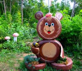 Tire recycling ideas creative brown diy little bear made by tires how