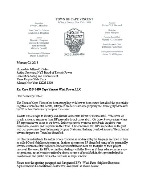 Zoning Appeal Letter Cape Vincent Wind Farm March 2013