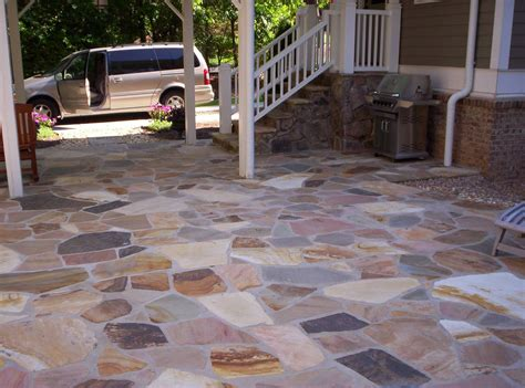flagstone patio and fieldstone stoop mixed colors from the city of crab orchard tennessee