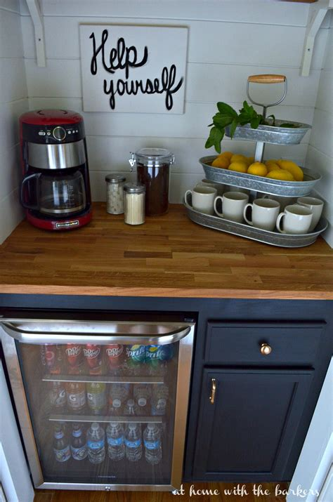Cafe Kitchen Decorating Ideas diy beverage bar at home with the barkers