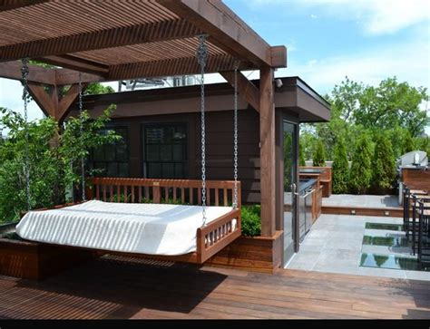 outside bed hanging bed outdoor deck garden ideas