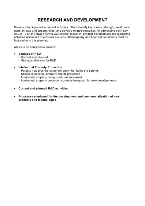 research and development plan template 5 comprehensive strategic business plan template