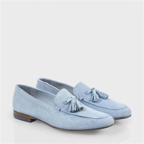 womens blue loafers lyst paul smith s sky blue suede tasseled