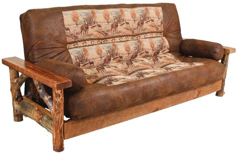 Rustic Futon Beds by Rustic Aspen Log Futon Deer Crossing Fabric Rustic Futons