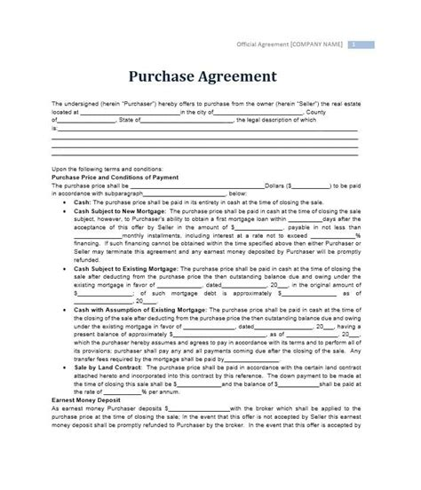 37 Simple Purchase Agreement Templates Real Estate Business Standard Purchase Agreement Template