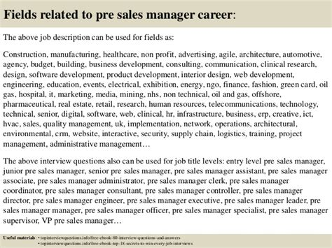 top 10 pre sales manager questions and answers