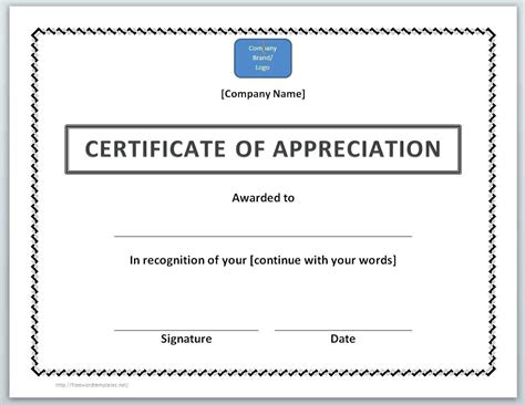 thank you certificate template word certificate of appreciation template word gallery