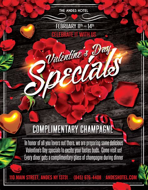 day specials s day specials and complimentary chagne