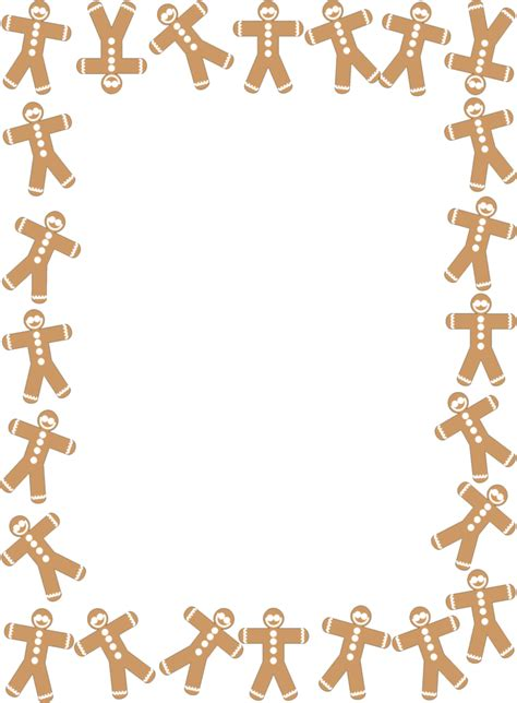 free printable gingerbread man border 10 free holiday border templates for flyers cards