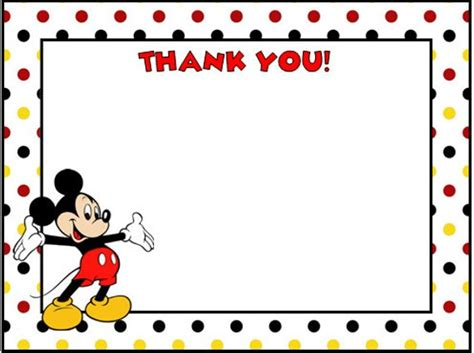 mickey mouse thank you card template mickey mouse thank you cards